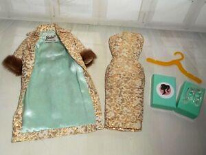 Vintage BARBIE * EVENING SPLENDOR #961 DRESS & COAT + MODERN GLASS HEELS SHOES