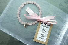 UK Rose Quartz Angel Friendship Bracelet REIKI Pink Wedding Best friend Gift