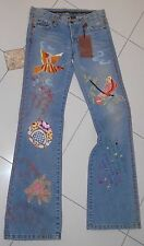 New $198 SWITCH USA Embroidered Birds Distressed Boho Hippie Blue Denim Jeans~26