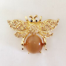 New Golden Brown Honey Bumble Bee Tigers Eye Stone Crystals Brooch Pin BR1177A