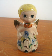 CAT Mexican Pottery Signed Little Angel Wings Tonala Yellow Blue Green Abstract