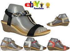 WOMENS GIRLS LADIES STRAPPY GLADIATOR CLOTH DAIMENTE CASUAL WEDGE SANDALS SIZE