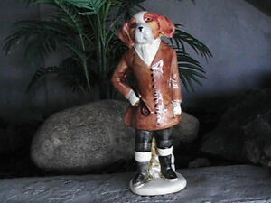 Vintage  Ceramic Dog Figure person standing up 12 inches tall