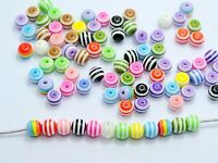 200 Mixed Colour Stripes Acrylic Round Beads 6mm