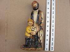 "C-  Vintage Orzeck Ware MA 10"" Terrestone Figure Fisherman & Son Figurine"