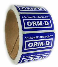 """Glossy Blue """"Consumer Commodity ORM-D"""" Labels Stickers - 1"""" by 2"""" - 500 ct"""