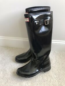 Hunter Rain Boots Womens 9 Black Gloss Tall Waterproof New