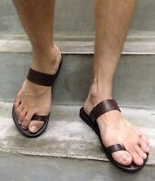 Dark-Brown Leather Hippie Flat Ring Toe Roman Boho Handmade Sandal Women's Men's
