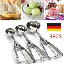 3PCS Eisportionierer Eiszange Eislöffel Eiskelle Löffel Eis Edelstahl Set DE