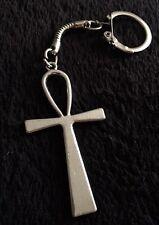 LRG Ankh Keyring Key Of Life Key Chain Pharaoh Rah Egyptian God Cross Silver *UK