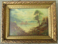 OUTSTANDING OIL ON CANVAS PAINTING OF CASTLE FORTRESS NEAR WATER SIGNED