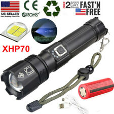 990000 Lumens Zoomable XHP70 5 Modes LED USB Rechargeable 18650 26650 Flashlight