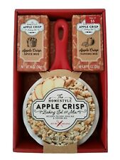 Homestyle Apple Crisp Pie Dish with Handle Baking Set w/ Spice & Topping Mix New