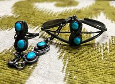 Old Pawn Bracelet Chain Ring Turquoise Southwest Navajo Unknown Designer