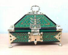 Ancient Treasure Jewelry Box Wooden Mural Painted Brass Trinket Dowry Netoor box
