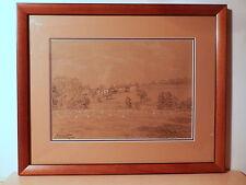 Tableau dessin fusain craie Ennemond Drevet ferme meule foin paysage campagne