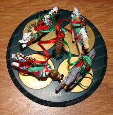 Christmas Carousel Horse Display Set (Hallmark, 1989) Snow, Holly, Star & Ginger