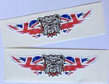 Britannico Bulldog Union Jack 2x Adesivi per Auto Furgone Camion Casco Laptop Tablet PC