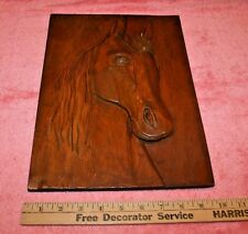 Vintage Wood Carved Horse Picture Plate Unsigned