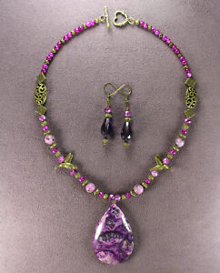 MAJESTIC!! Purple Hummingbird NECKLACE EARRINGS Agate Stone Pendant Beads Birds