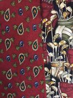 Chaps Ralph Lauren Men's Tie Lot Of 2 Golf Burgundy Blue Green Neckties