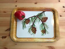 """17"""" x 13"""" Vintage Painted Tin Tray Camping Forest Pine Cone Branch Picnic NICE"""