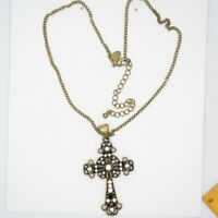 lia sophia jewelry antique gold tone cross pendant cut crystals necklace chain
