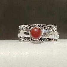 Carnelian Gemstone 925 Sterling Silver Spinner Valentine Day Gift Ring Size- 10