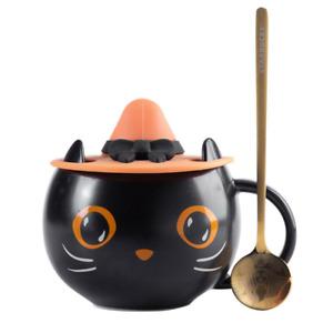 New Starbucks Cute Black Cat W/ Witch Cap Lid Coffee Mug Cup Hallowmas Gift