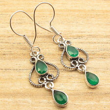 """Plated Bridal Jewelry 1 3/4"""" Facetted Green Onyx Earrings, Silver"""