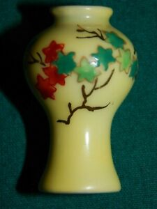 MINIATURE DOLLHOUSE ORIENTAL GLAZED PORCELAIN VASE; MARKED BOTTOM