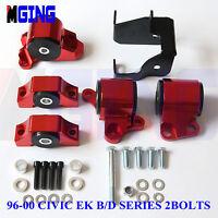 Engine Torque Motor Mount Kit Bracket For Civic 96-00 EK D16 B16 B18 2 Bolt RED