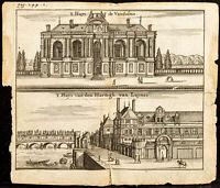 1661 - Paris - Vue de l'Hôtel de Vendôme en bord de Seine - Gravure ancienne