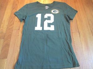 NEW MAJESTIC WOMEN'S NFL GREEN BAY PACKERS AARON RODGERS JERSEY T-SHIRT SIZE M