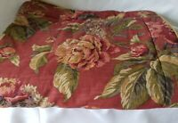 """VINTAGE CROSCILL """"SERENA"""" RED RUSSET FLORAL PADDED KING PILLOW SHAM PAIR"""