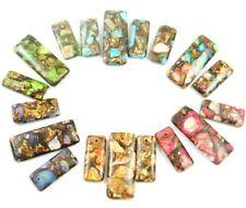 Sea Sediment Jasper&Gold Copper Bornite stone rectangle Pendant Beads 3pcs Set
