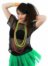 LADIES 80`S BLACK MESH TOP AND PACK OF 4 NEON BEADS FANCY DRESS DISCO CLUBBING