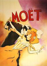 Original Vintage Poster Moet Couple by Vince McIndoe 1996 Champagne Romance