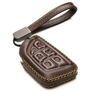 Vitodeco 6-Button Leather Smart Key Fob Case for 2021 - up Cadillac Escalade
