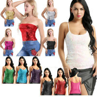 Summer Women Sequin Crop T-Shirt Tops Sleeveless Tee Shirt Top Blouses Tank Vest
