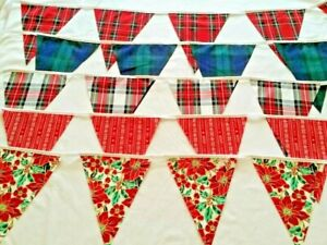 Christmas Fabric Bunting Mantel decor 100%Cotton Tartan  From 60 inches Handmade