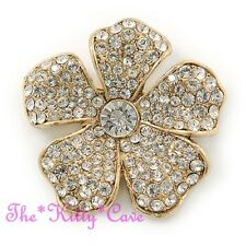 Plated Brooch Pin w/ Swarovski Crystals Floral Flower Catwalk Cocktail Chic Gold