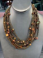 """Ladies  Bohemian Multi strand seed bead Brown beaded necklace 18"""" Signed"""