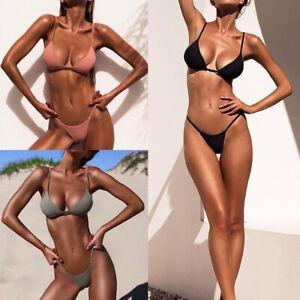 Womens Sexy Swimsuit Set Bikini Bra G-String Thong Bottom Beach Solid Swimwear