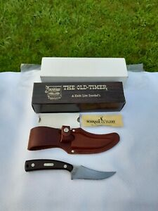 Vintage SCHRADE USA 152 Old Timer Sharpfinger Hunting Knife w/ Leather Sheath
