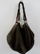 LUCKY BRAND brown suede braid leather hippie boho sack shoulder bag 12""