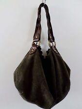 "Lucky Brand brown suede braid leather hippie boho sack shoulder bag 12"""