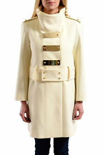 Just Cavalli Women's Ivory Belted Coat US S IT 40
