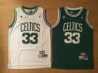 #33 Larry Bird Boston Celtics Men's Throwback GREEN/White Sewn Jersey