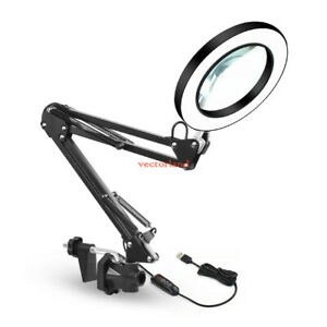 LED Large Lens Lighted Lamp Top Desk 5x Magnifier Magnifying Glass with Clamp UK